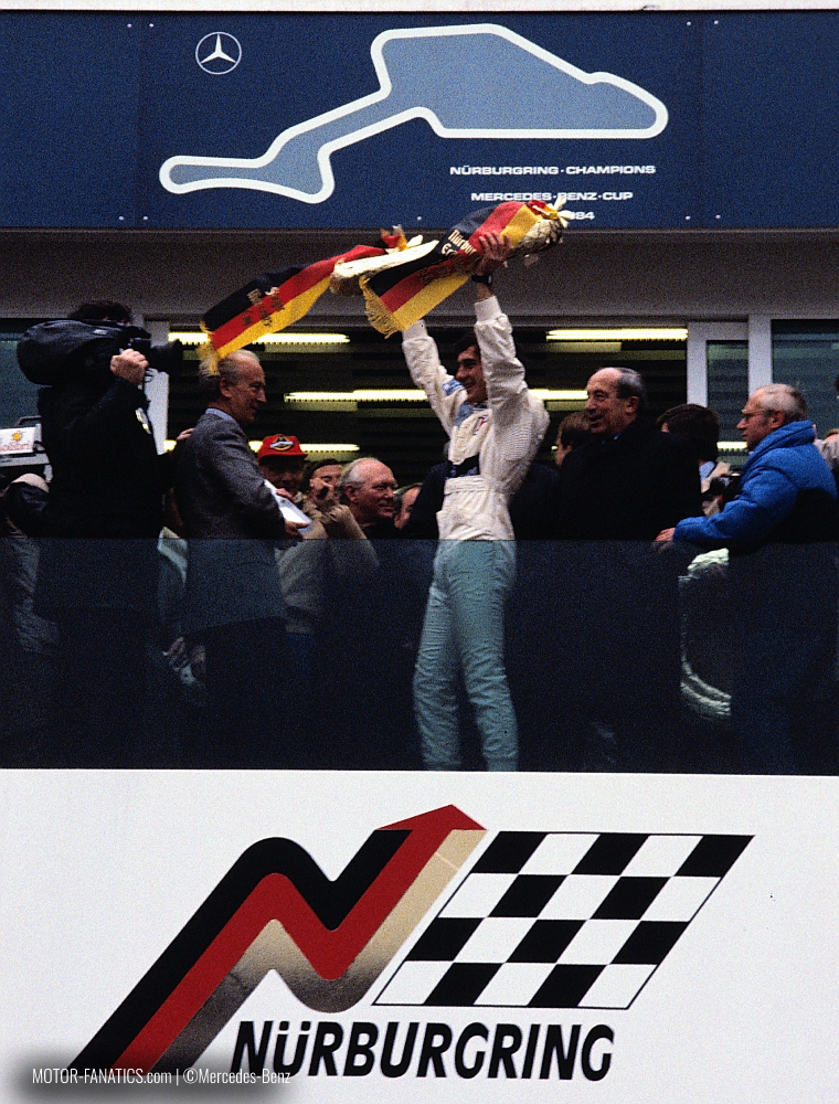 Ayrton Senna in the Nurburgring Podium